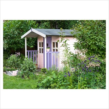 Painted pink and lilac wendy house
