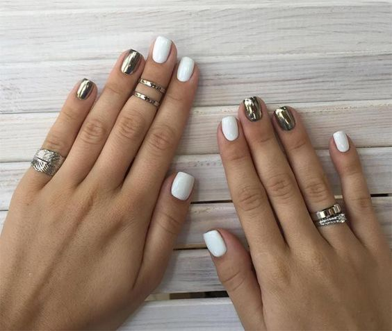 nail art designs chrome | white | simple | summer | short | mirror