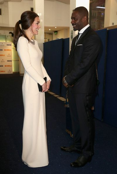 Catherine, Duchess of Cambridge meets actor Idris Elba as she attends the Royal film performance of 'Mandela: Long Walk to Freedom' at Odeon Leicester Square on December 5, 2013 in London, England.