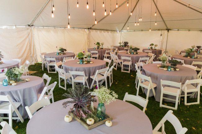 Backyard Weddings, Backyard Wedding Receptions and Purple Table