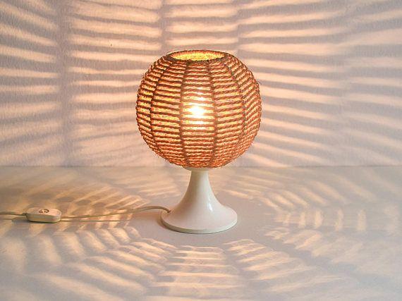 Sisal lamp rustic night lamp 70s lamp desk lamp accent