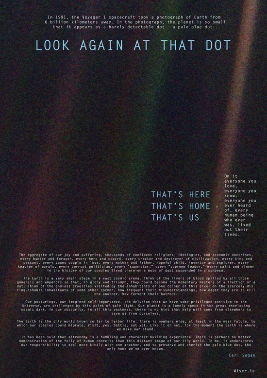 """Poster of Carl Sagan's monologue """"Thats here. That's home. That's us""""."""