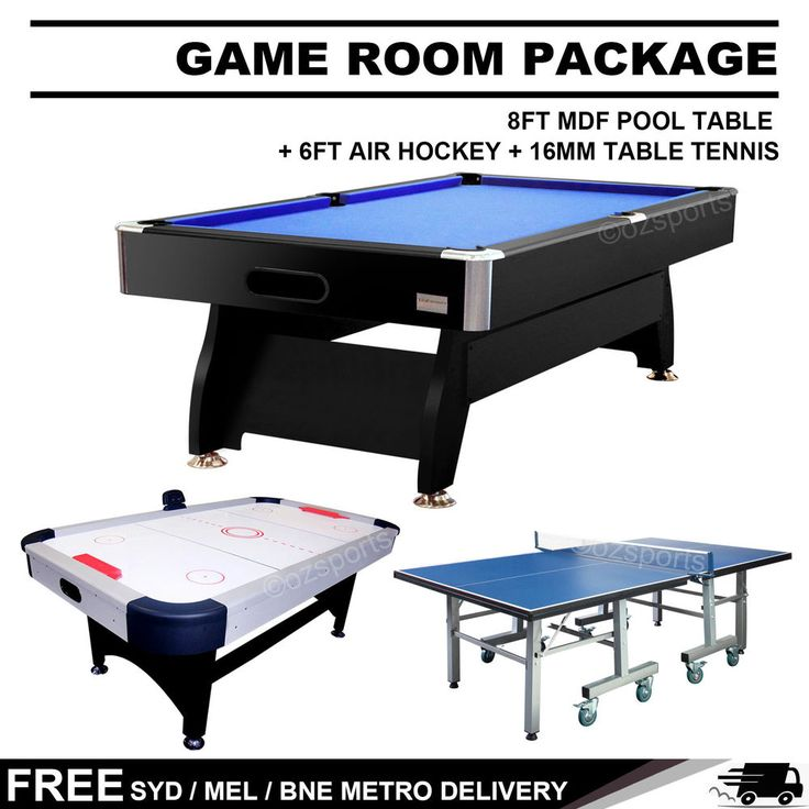 Details About GAME ROOM PACKAGE 8FT MDF POOL TABLE + 6FT AIR HOCKEY TABLE +  16MM TABLE TENNIS | Best Pool Table Ideas