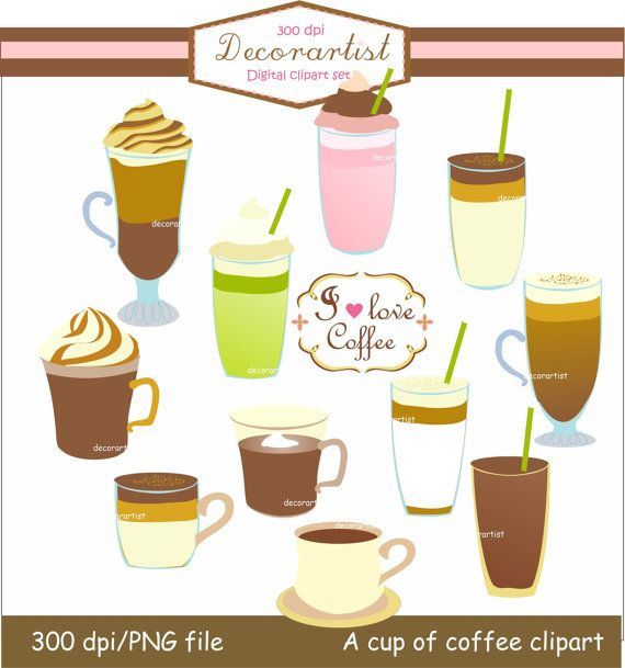instant download Digital clipart coffee cup clipart, I ...