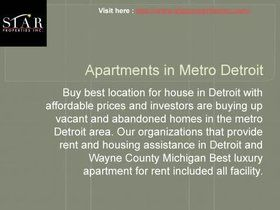 Residential interior property in Michigan's metro Detroit area. Consultations, parking planning, home furnishings selection accommodations offered at the Renaissance Center in Detroit.