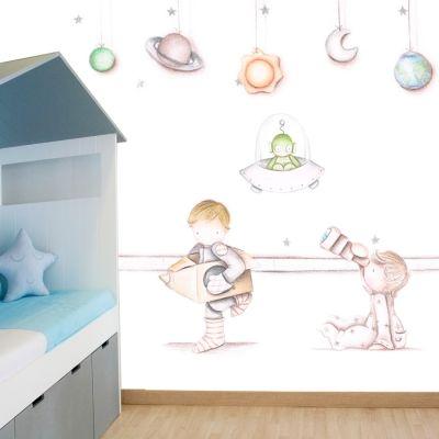 Decoración infantil Il Mondo di Alex, Papel mural efecto pintado a mano, ESPACIO... personalizado con nombre o frase y a medida.
