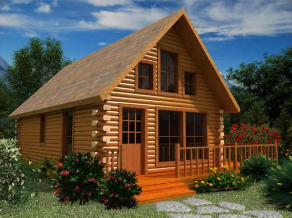 Small Log Cabin Floor Plans | The Gasconade :: Log Cabin Floor Plan