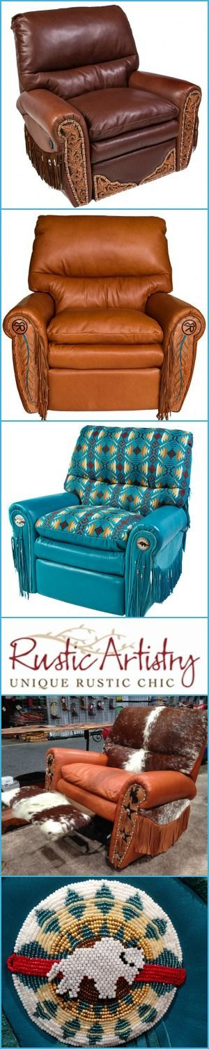 The Ultimate Recliner | Cloud soft, down filled, lumbar support, you may never use another chair in your house again. Completely customizable for leather/cowhide color, fringe, tooling, conchos...design it for western decor, contemporary, cabin or anywher