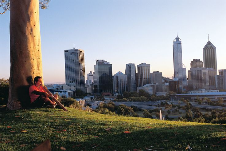 Indigenous Aboriginal Culture meets Perth City Skyline in this view from Kings Park. (C) 2012