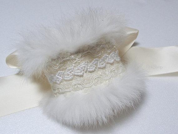 SNOW-Winter Fur Wedding Cuff Bracelet