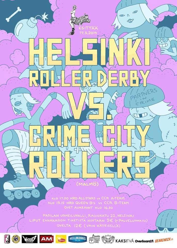 Helsinki Roller Derby poster by Mikko Saarainen