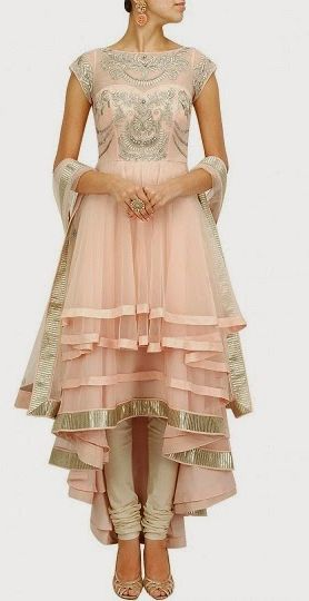 Jade by Monica and Karishma Collection 2014 - Featuring soft blush pink multi layered net anarkali with silver embroidered bodice and sheer neckline. It has lace detailed border. It comes along with matching nylon net lace border dupatta.