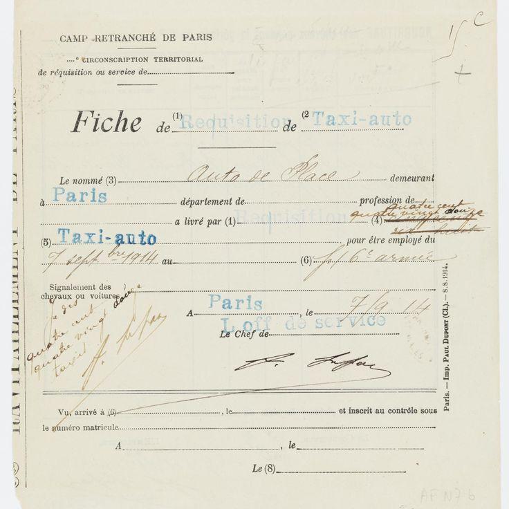 Fiche de réquisition d'un taxi-auto de la Compagnie générale des voitures, 7 septembre 1914 Archives nationales, AE/II/2992 © Archives nationales, France