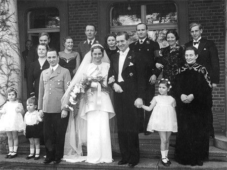 Wedding of Joseph Goebbels' sister Maria. Front row: Hilde & Helmut Goebbels, Joseph, Maria & Max Kimmich, Helga Goebbels and the mother of Magda Goebbels. Second row: Brother and sister in law of husband Max, Magda Goebbels, Graf Helldorf, Mrs Quandt, Hanke, Gräfin Helldorf and Harald Quandt.
