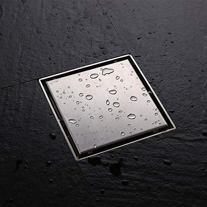 Desfau Square Shower Drain 6 Inch Tile Insert Brushed Nickel