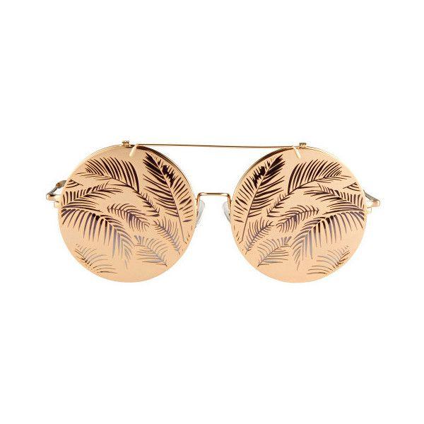 Matthew Williamson Flip-Up Sunglasses ($330) ❤ liked on Polyvore featuring accessories, eyewear, sunglasses, gold, flip glasses, gold glasses, round frame glasses, flip up glasses and purple glasses