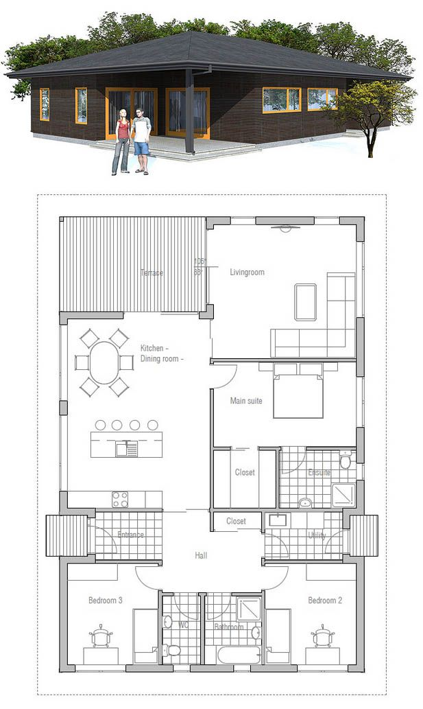 230 best plan maison images on Pinterest Architecture, Homes and - plan petite maison 70 m2