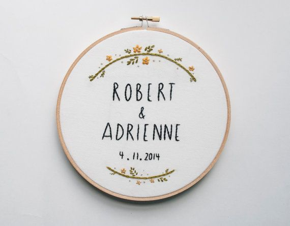 Wedding Hoop Art Custom Embroidery by KitschAndStitchNY on Etsy