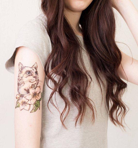 Cat Floral Temporary Tattoo Design Animal Pet Melbourne Australia Ships Worldwide Www Pepperink Com Au Flower Tattoo Shoulder Tattoos Shoulder Tattoo