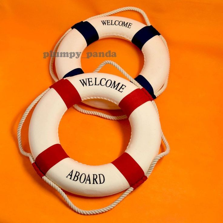 Red/ Blue 14Inch Lifebuoy Lifering Nautical Theme Home Office Welcome Decoration