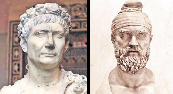 Împăratul Traian (stânga) a picat testul genetic. Conform studiilor oamenilor de ştiinţă, faptul că acesta a cucerit Dacia nu a dus, automat, şi la amestecarea popoarelor dac şi roman. Aşadar, dintre cele două figuri marcante din istorie, doar