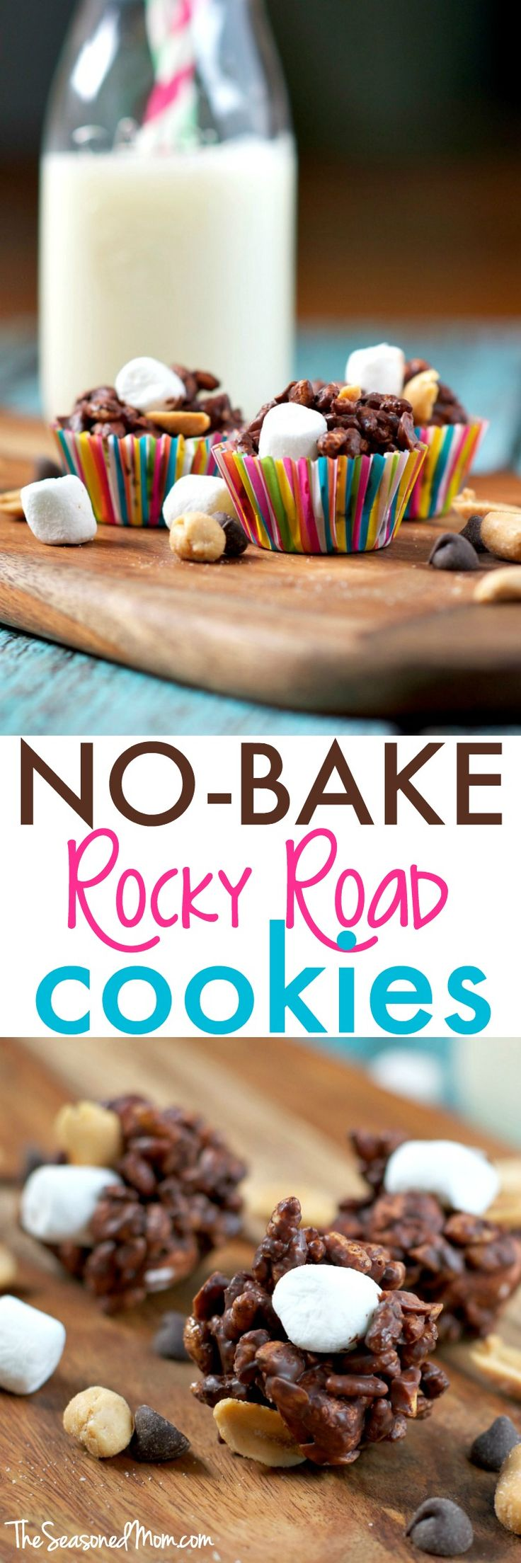 Another family favorite dessert inspired by Aunt Bee's classic recipe box, these 5-Ingredient No Bake Rocky Road Cookies are a delicious 10-minute treat to beat the heat! Loaded with chocolate, peanuts, marshmallows, and Rice Krispies, this is a simple and easy way to satisfy your taste for salty-and-sweet!