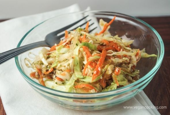Kelp Noodle and Cabbage Salad  Ingredients:     1 package kelp noodles     1/4 cup rice vinegar     2 tbsp agave     1.5 tbsp. toasted sesame oil     1 tbsp. soy sauce     1 garlic clove, minced     1 tbsp. ginger, minced or grated     2 cups shredded coleslaw mix     1/8 cup cilantro     2 tbsp. sesame seeds