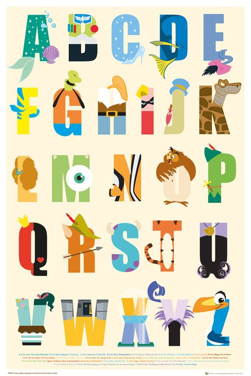 DISNEY POSTER ~ CHARACTER ALPHABET 24x36 Walt Movie Teaching Ariel-Zazu