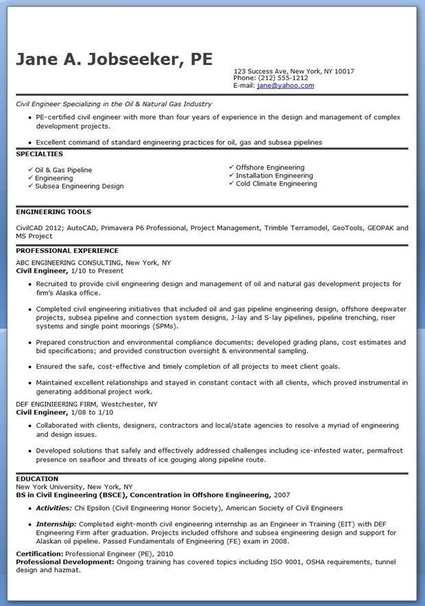 civil engineer resume template experienced - Marine Geotechnical Engineer Sample Resume