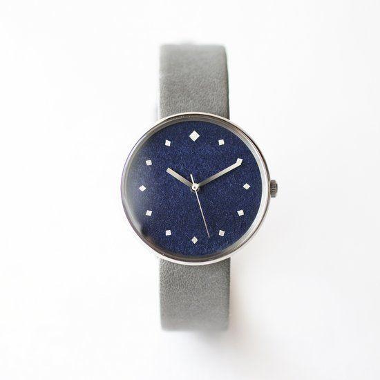 はなもっこ腕時計 こないろシリーズ 紺 unisex 牛革縁返し仕様ベルト グレー