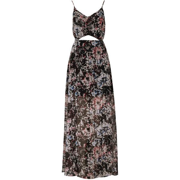 TOPSHOP Petite Grid Floral Maxi Dress ($120) ❤ liked on Polyvore featuring dresses, gowns, vestidos, gown, long dress, dark purple, petite, black chiffon gown, black gown and long black evening dresses
