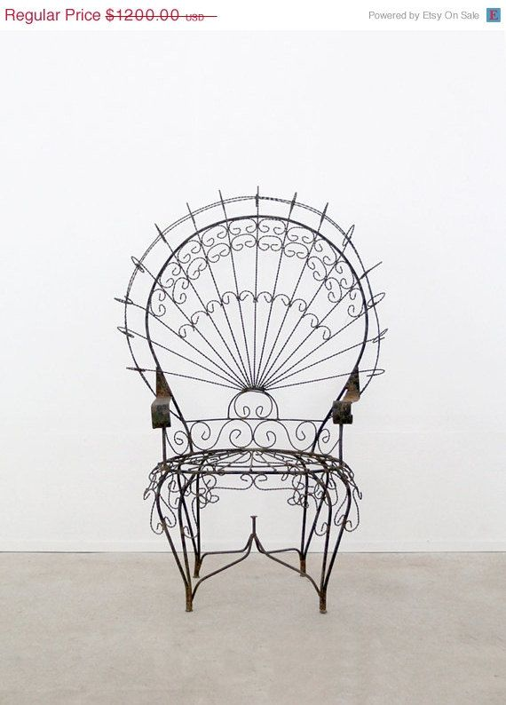 Antique wrought iron chair peacock chair - Vintage wrought iron chairs ...