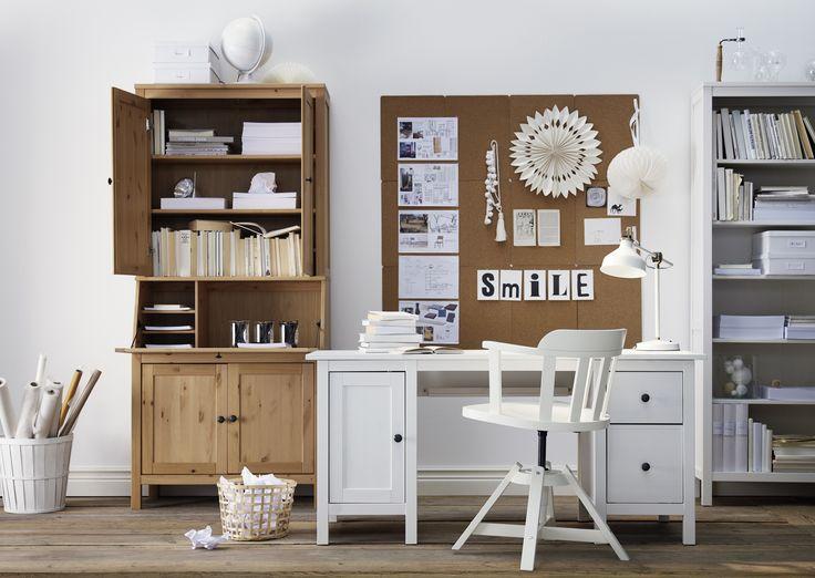 HEMNES bureau | #IKEA #IKEAnl #werkplek #inspiratie #prikbord #bureaustoel