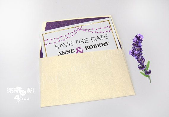 Save The Date Size Of Business Cards Gold Foil_ by PaperMark4You
