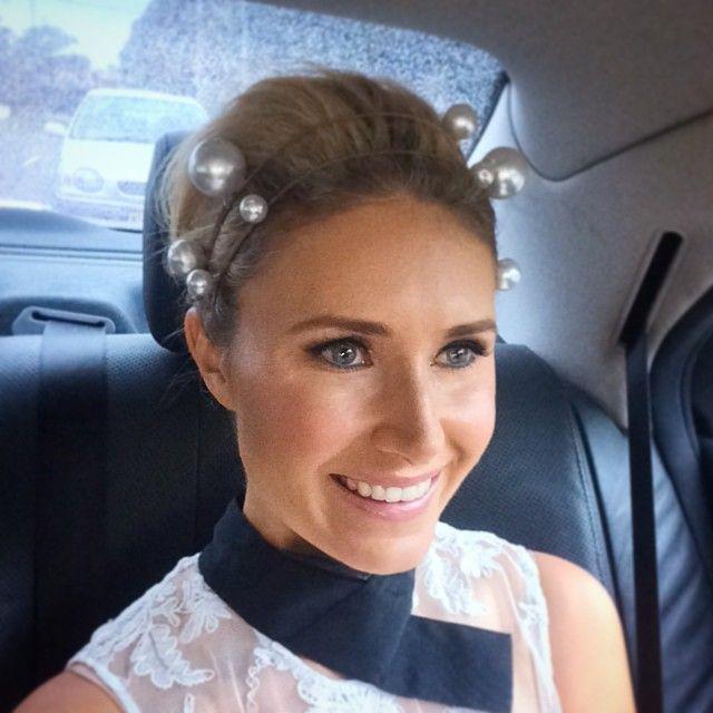 Magdalena Roze @magdalena_roze at Golden Slipper 2015, wearing @annshoebridge headpiece and Alex Perry dress| Websta (Webstagram)
