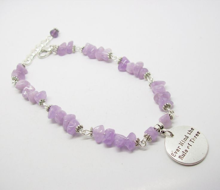 Ever Mind The Rule Of Three Purple Chalcedony Gemstone Bracelet -Three Fold Law - Law Of Return - Wicca - Pagan - Unique Gift by freakchicboutique on Etsy