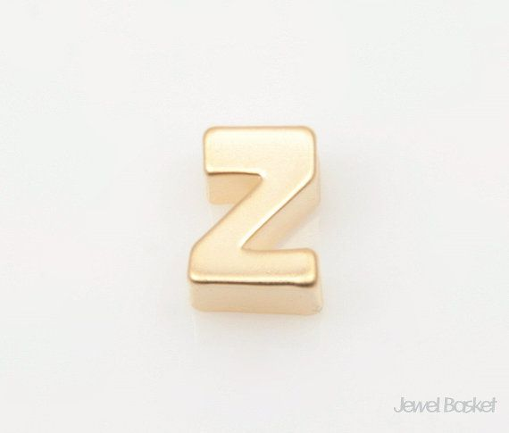 "Matte Gold Alphabet - 2pcs Capital Letter ""Z""  - Matte Gold Plated (Tarnish Resistant) - Brass / 5mm x 7mm  - 2pcs / 1pack"