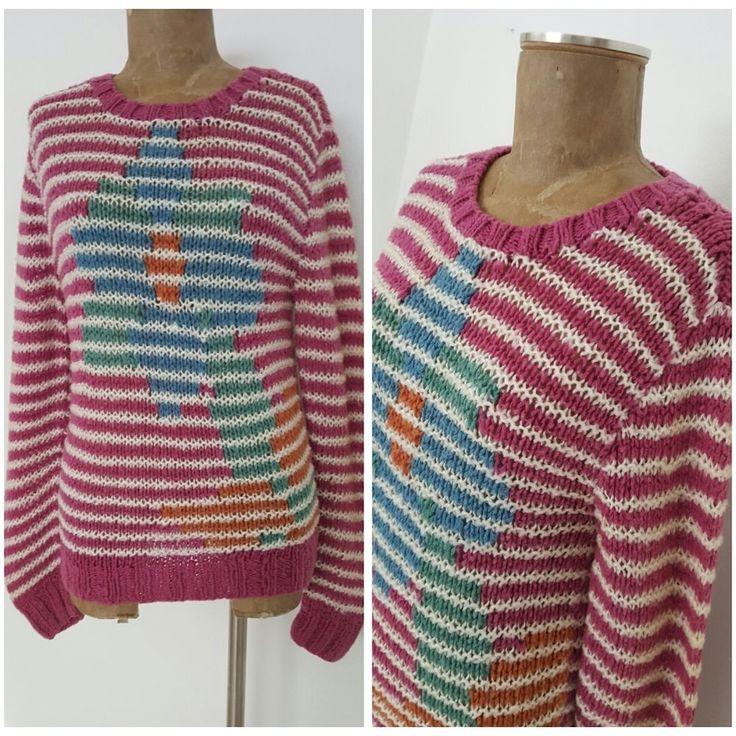 Vintage 80s Carreau Sweater Size Large Hand Knit Stripe Floral Retro Hipster #Carreau #Pullover