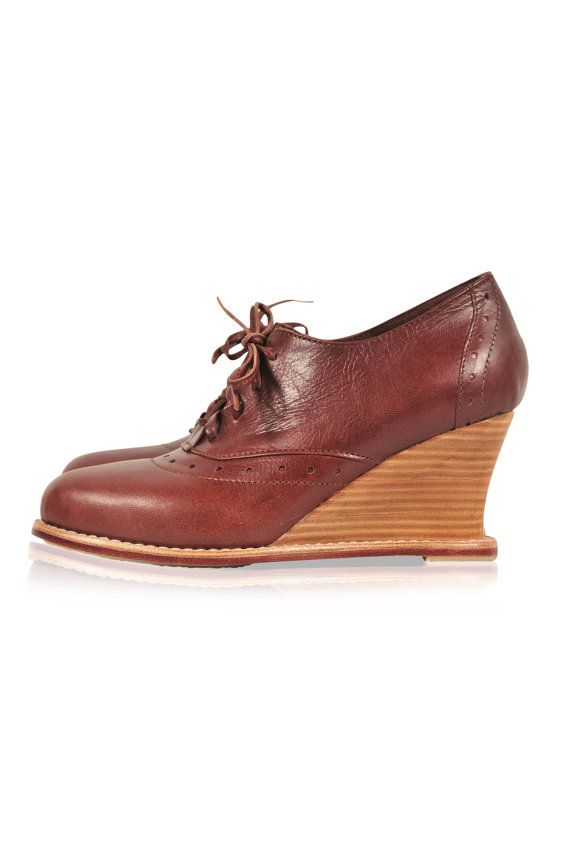 DAYDREAM. Oxford wedge / oxford booties / leather by BaliELF, $165.00