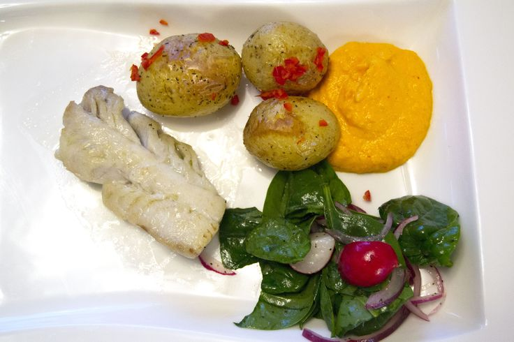 Lightly salted saithe with carrot and saffron aioli and chili roasted potatoes