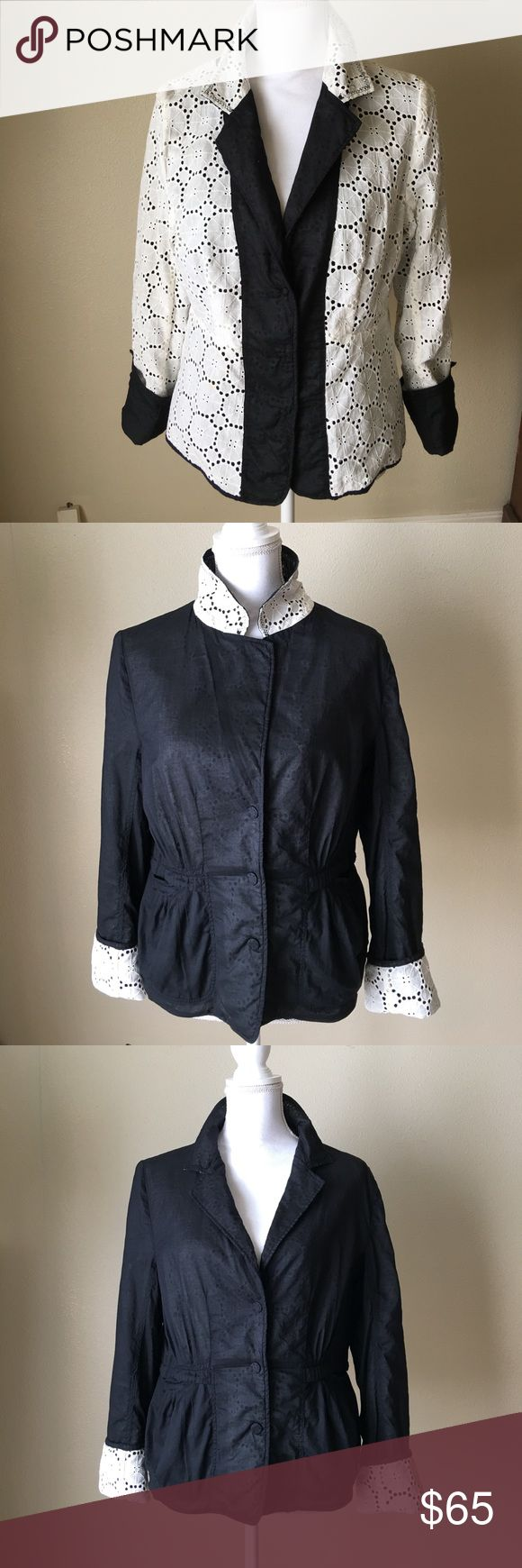 Tahari Shirt Jacket Reverses Ecru Lace to Black This was one of my favorite items when I was a size 8.  The jacket can be reversed from black with lace cuffs to ecru lace with black placard & cuffs. Snap closing placard & cuffs. Works for use as a Mandrin or lapel collar. Tahari Tops Blouses