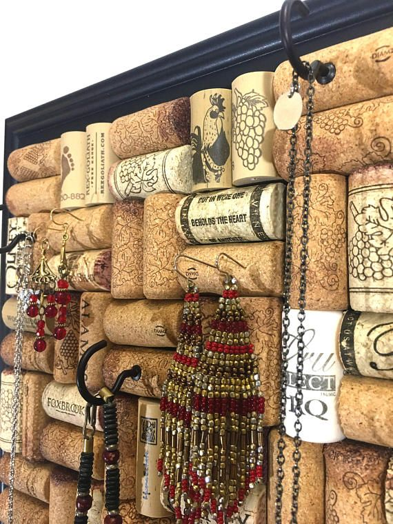 Wine Cork Jewelry Hanger Jewelry Organizer Key Holder Wine Cork Jewelry Cork Jewelry Wine Cork Diy