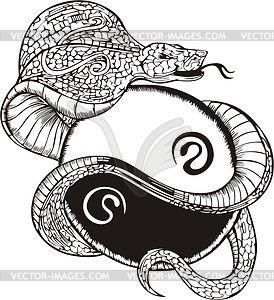Тату со змеей (инь-янь) - векторный клипарт