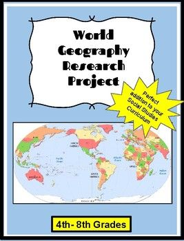 "Are you looking for a World Georgraphy Research Project?Look no further!  Your students will have the opportunity to research a country in depth.  As the teacher, you can choose to assign the countries to your students or have them choose. Included in this product, you will find:**Two easy to follow ""fill-in"" sheets for your students to use as they gather their research.**Additional fact sheet (blank for research)**Map of the World (blackline)**Internet resource suggestions (printable…"