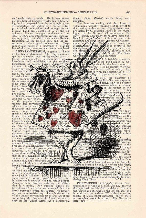 Alice in Wonderland White Rabbit Print on Vintage Dictionary Book