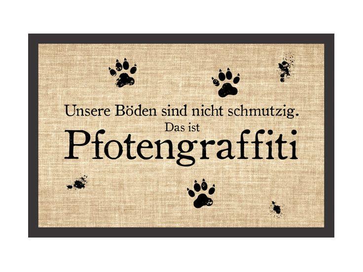 Shabby Fußmatte Türmatte PFOTENGRAFFITI Hund Hundematte Fußabtreter Pfoten