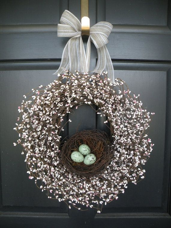 Robin's Egg Nest Berry Wreath by Daulhouseshop on Etsy, $68.00