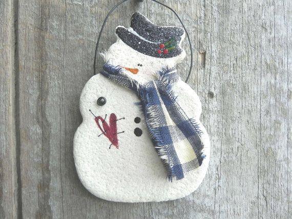 Snowman Salt Dough Ornament: Handmade item Materia…