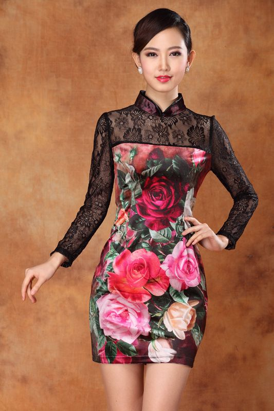 Long Lace Sleeves Modern Short Qipao Dress - Qipao - Cheongsam - Women ~I would cut the lace top part off, and hem it so it was strapless. I really would adore this dress!