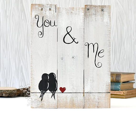 Engagement Gift for Couples Rustic Gallery Wall Decor 5th Anniversary Rustic Wood Sign Reclaimed Wood Art Love Bird Sign Rustic Wedding Gift for Couple Fifth Anniversary Gift Wood Wall Art Love Gift This Original Rustic Reclaimed Pallet Wood Sign makes a unique gift for a wedding,